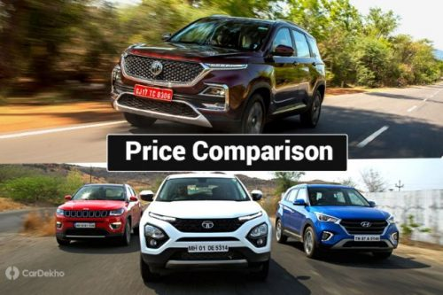 Prices Compared: Tata Harrier vs Jeep Compass vs Hyundai Creta vs MG Hector